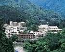 四万グランドホテル:「たむらの森」の玄関、大自然と温泉を堪能可