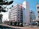 ターミナルホテル松山:【ホテル外観】JR松山駅隣接。ホテル前を坊ちゃん電車が走ります。