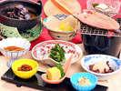 清流魚の一夜干しや諏訪湖の名物しじみの味噌汁がついたパワーUPのご朝食