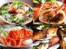 幻の間人蟹の他に、豊富な種類の魚貝類をお刺身でお召し上がり頂けます。