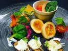 ディナーメニュー・前菜の一例。日替わり前菜盛り合わせ5種。