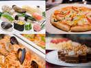 スペシャルディナーブッフェ。日本料理、中国料理、フランス、イタリア料理全70品が楽しめる!