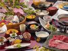 和会席料理一例。メイン料理は魚と肉料理の2種よりお選び頂けます。