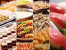 和洋80品の料理が並ぶ夕食バイキング!種類が豊富です。