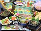 【夕食一例/あわびプラン30年度秋冬】海のごちそう<あわび>を刺身で焼きで、贅沢に堪能♪