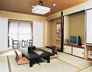 10畳+踏込3畳+広縁。シンプルな和室。お部屋の窓からは四季折々の山の景色を見せてくれます