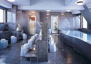 奥道後温泉から引湯の露天風呂付き浴場