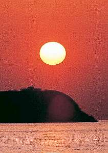 水平線に沈む夕日は最高です!