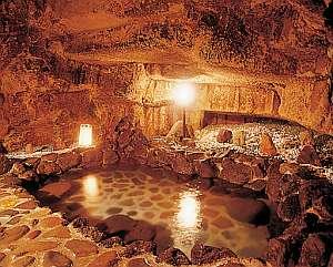 江戸時代の石切場をそのまま利用した洞窟風呂(温泉)を貸切で!