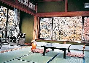 角部屋は広々開放的、森の緑が見事です
