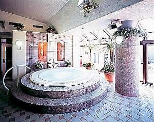 屋内温水プールのジャグジーバス