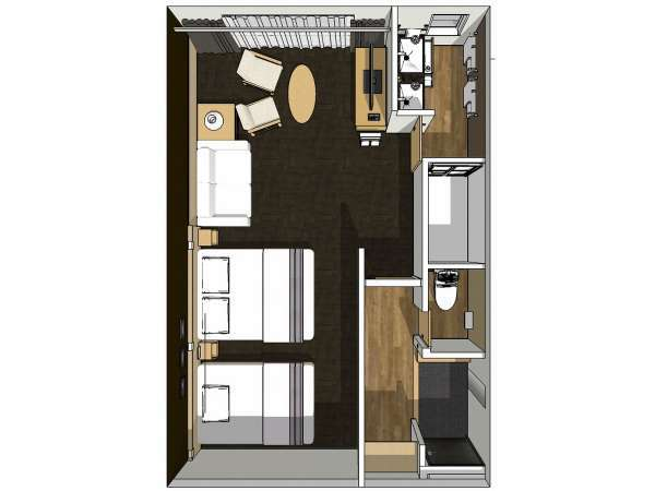 ■デラックスツインルーム広さ37平米 ベッド2台+ハイダーベッド1台