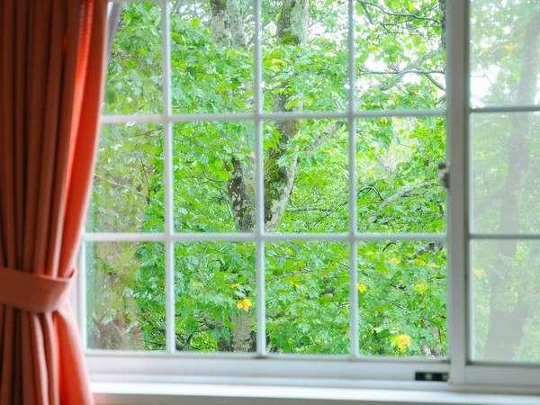 【ゲストルーム】窓の外にはさわやかな緑が...
