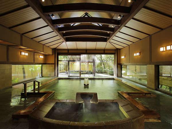 【男性用大浴場】殿方内湯。古くから名湯として知られるあつみ温泉です。