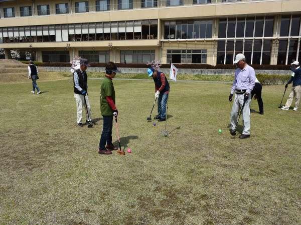 中庭ではグラウンド・ゴルフが楽しめちゃいます★目指せ!ホールインワン