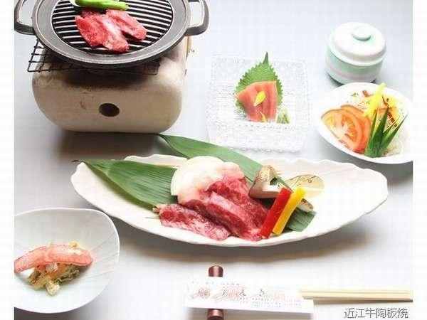 近江牛を使ったホテル自慢の陶板焼き御膳