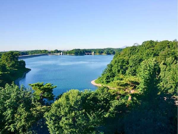 【和室12畳】お部屋から見える多摩湖と周辺の森林。四季折々楽しめる