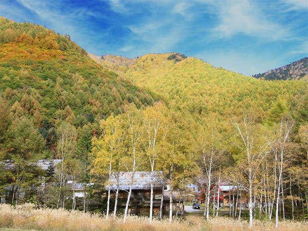 平成22年10月23日撮影:ゲレンデ方面よりみた外観 黄色く染まる針葉樹・黄金色のススキ・白樺並木