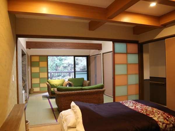 「新棟・宙」。3~5名様のグループ・家族向け。ツインベッドルーム2つに居間、内風呂付