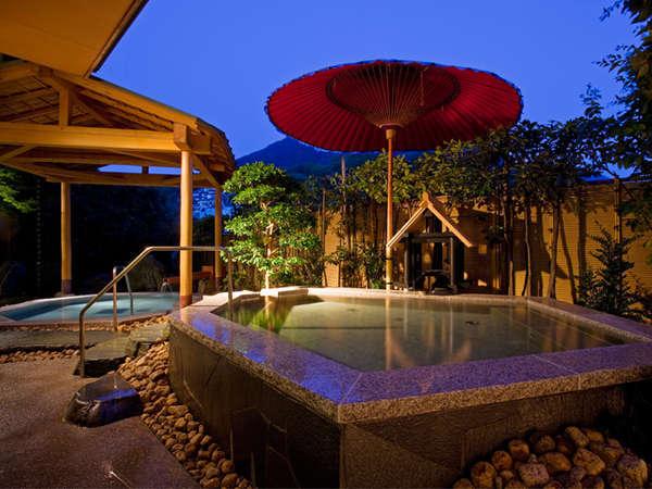 【男性露天風呂】金刀比羅宮のライトアップを眺める露天風呂