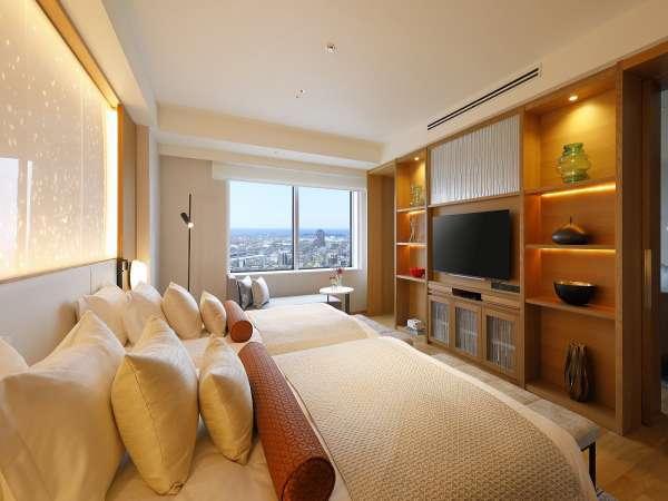 スイートルームのベッドタイプは、ハリウッドツイン仕様です。(一例)