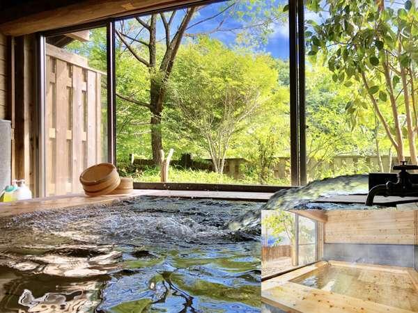 【新館】空っぽの湯槽が新鮮な湯であっという間に満タンに!夜も木々にライトアップされ、しかも全室寝湯付