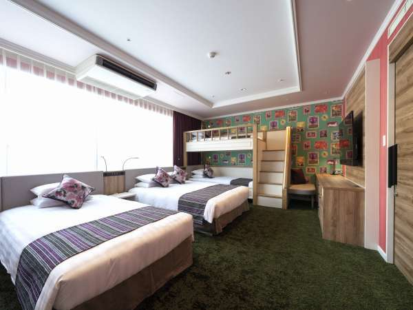 ファミリールーム 広さ57㎡ 2段ベッド設置 5名様まで利用可能