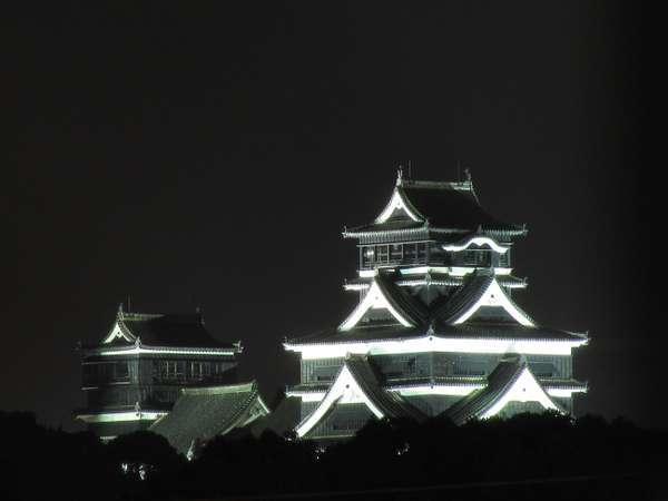 当宿の屋上テラスより熊本城のライトアップが楽しめます