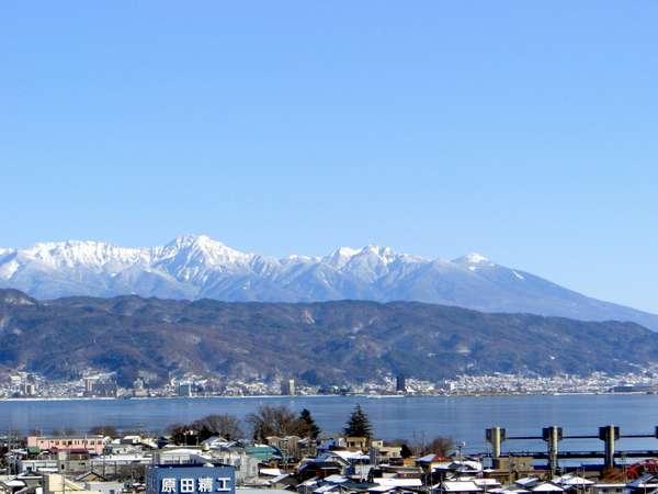 ホテル駅側・上層階からの景色 ★ 諏訪湖と八ヶ岳が望めます