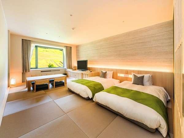 【モダン和室】禁煙40㎡ 高さの低いベッドが2台、敷布団が2セット!4名定員