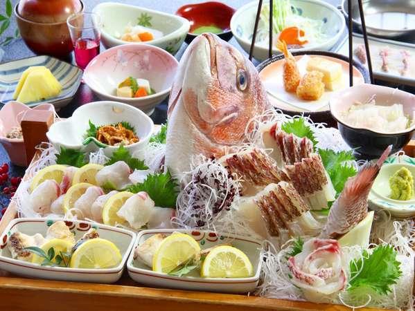 90周年祝い膳「鯛づくし」お頭お造り、焼き物、しゃぶしゃぶ、他