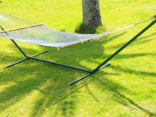 人気の芝生広場のハンモック。心地よい日差しをあびてのんびりお昼寝。