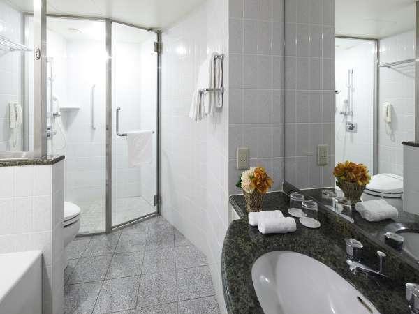 デラックスキングルームのバスルームにはシャワーブースが完備されています。