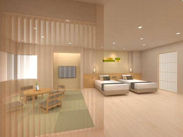 リニューアルオープンに向け新しく作った客室の一例です。