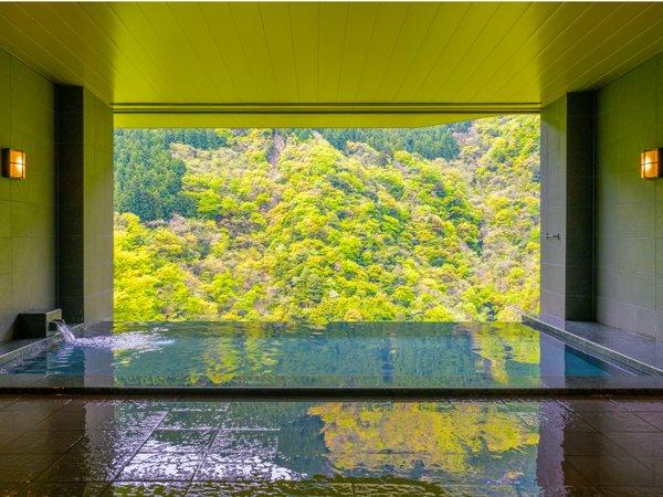 ■展望風呂 SORA NO YU■対岸の国見山には初々しい緑に彩られています