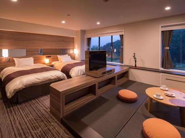 【禁煙和洋室46.9㎡】120cm幅シモンズ社製セミダブルベッド+琉球畳の和室。