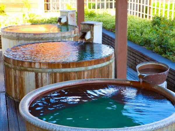大展望露天風呂「棚湯」では樽湯等もあり♪