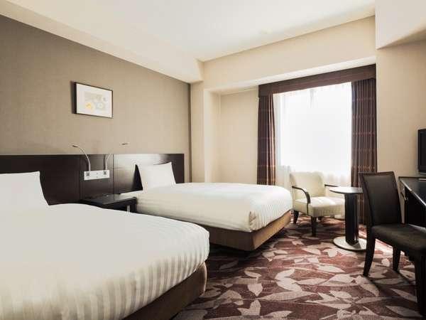 ツイン■21㎡・ベッド幅110cm2台 ベッド1台につき未就学児1名まで添い寝ができます。