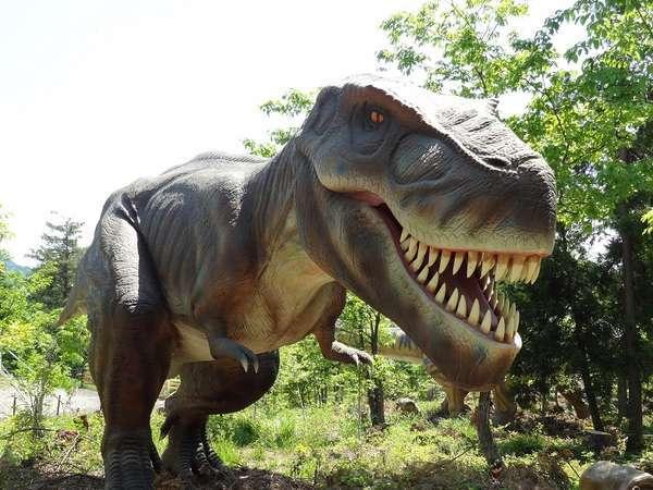 勝山恐竜の森・ディノパークのティラノサウルス。40体もの実物大の恐竜たちが君を待っている!