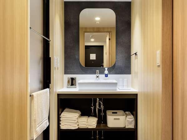 洗面所・化粧室。ハンドミラー・ドライヤーも完備。