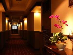 クラシックモダンをコンセプトとした客室同様、落ち着いた雰囲気の廊下。