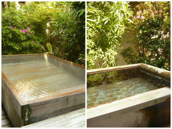 【露天風呂付客室】総ヒノキ造りとめのう風呂。どちらになるかは当日までのお愉しみ★