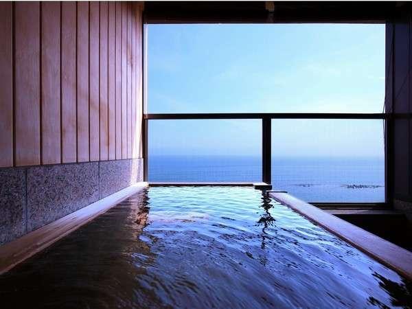【平成館 しおさい亭 別館 花月】全室津軽海峡を望む客室露天風呂付。湯の川温泉バス停目の前。