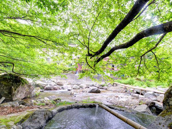 *野天風呂/春は新緑、夏は涼風、秋は紅葉、冬には雪見風呂がお楽しみ頂けます。