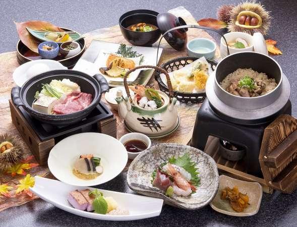 秋のにぎわい会席:牛すき鍋・甘鯛変り揚げ・釜めし他※画像の土瓶蒸しは他の1品料理に変更できます。