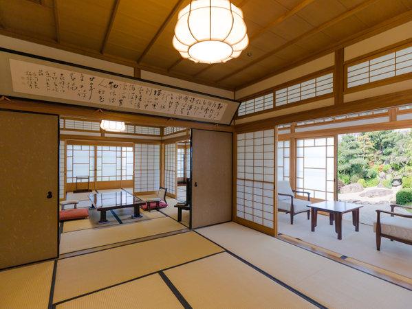 貴賓室・総檜造りの数奇屋造りの純和風、日本庭園眺望(8帖+8帖+14帖)