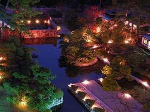 夜の日本庭園/ライトアップされた庭園はまるで映画のワンシーンを思わせるような美しさです。