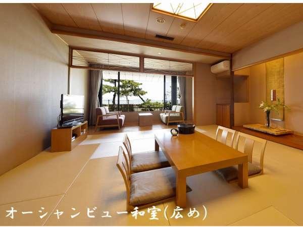 【オーシャンビュー和室(広め)】1階の海に面した和室。シンプルで清潔感のあるお部屋です。