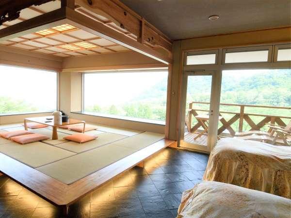 ◆ワイドビューの景観と和洋折衷のお部屋で時を忘れるほどのんびりお過ごしください。