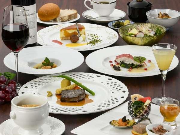 【夕食】地元の食材をふんだんに使用した洋食コース料理(一例)